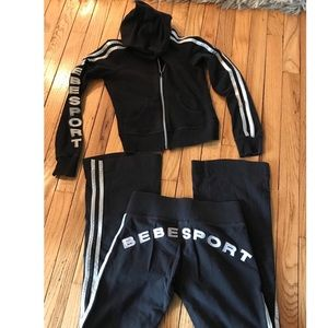 Bebe sport gym track set size XS black and silver